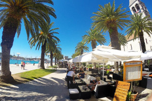 sunny promenade in Trogir