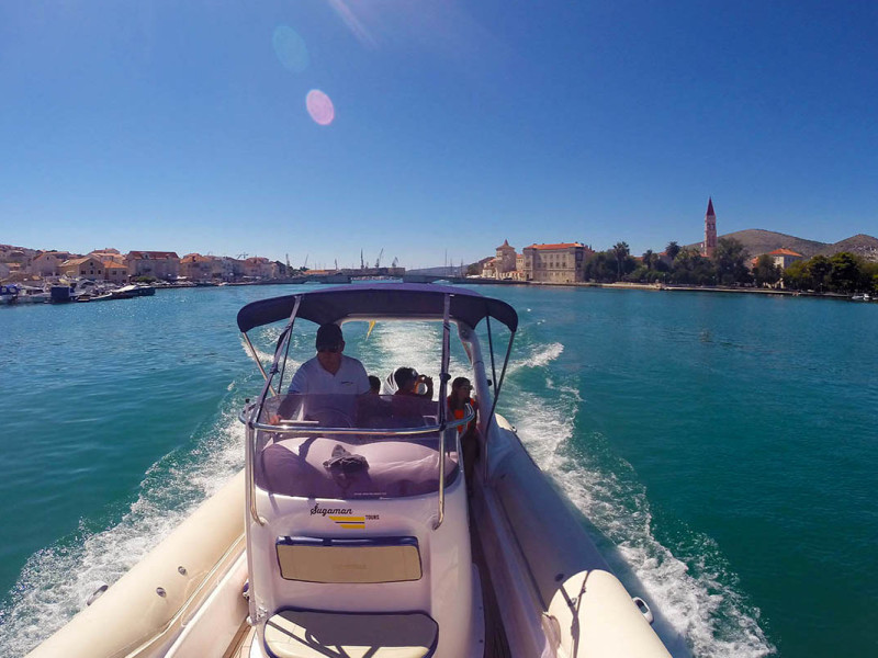 Leaving Trogir in the distance
