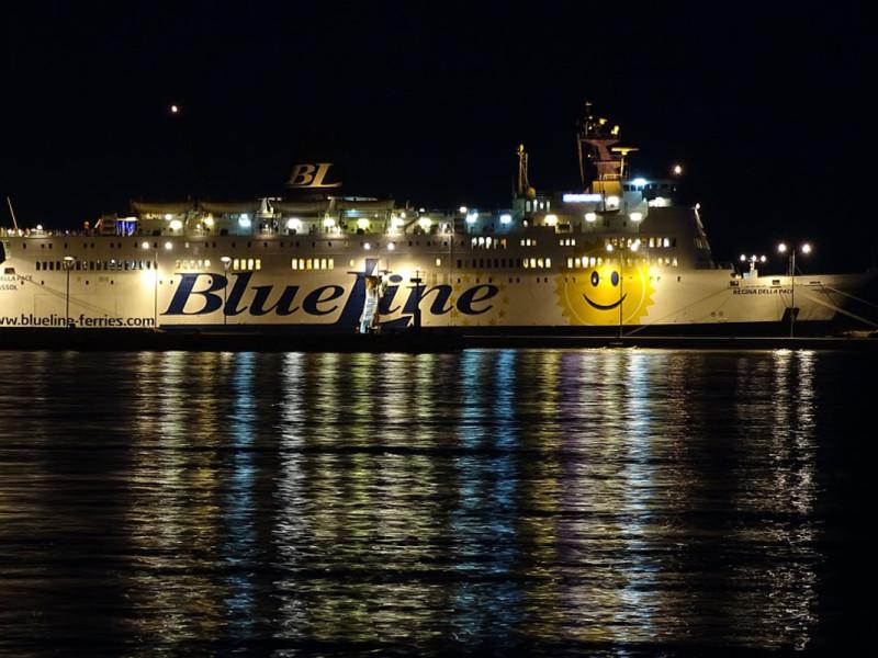 Ferry in Split Port at Night