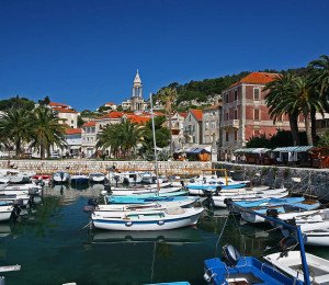 Port and Bell Tower in Hvar