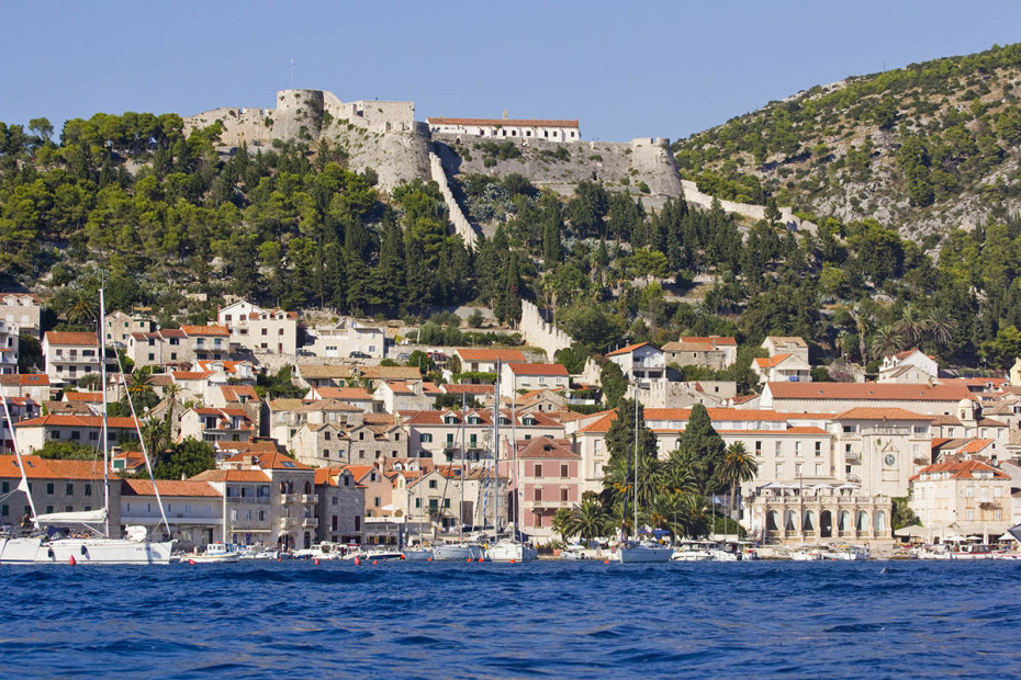 View of Hvar and Fortica from our speedboat
