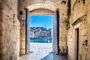 Trogir gates, old town