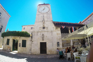 Clock tower on main Trogir square