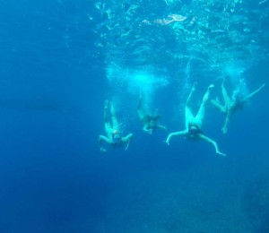 Underwater group photo in Stiniva Cove