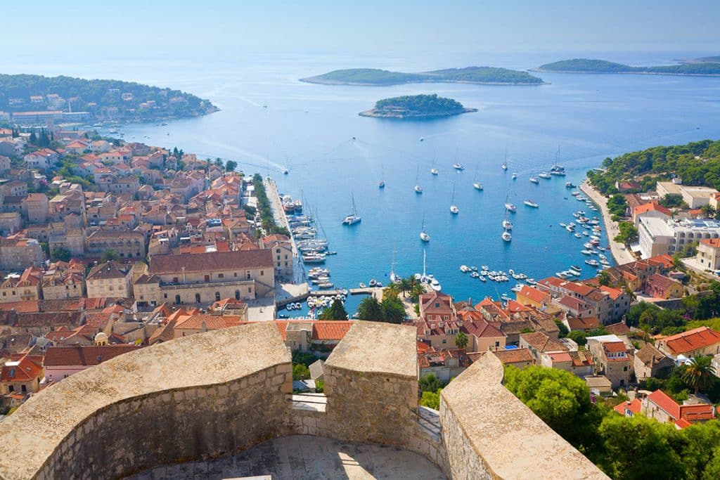 View on Hvar and Pakleni islands from Fortica fortress