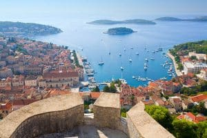 View from Fortica fortress on Hvar and Pakleni islands