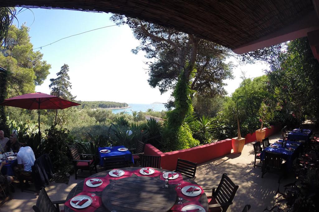 View from the Meneghello restaurant in Palmizana