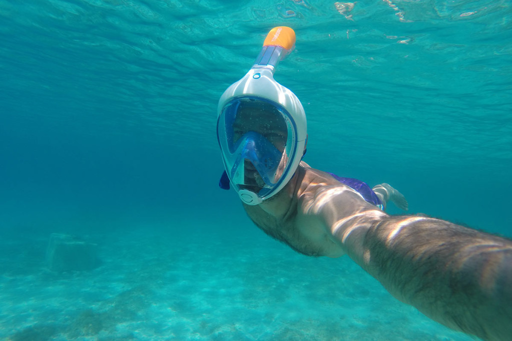 selfie underwater in Blue Lagoon Croatia