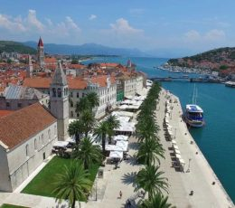 Aerial View On Trogir Channel and Promenade