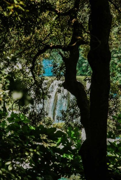Krka waterfalls viewed through lush trees