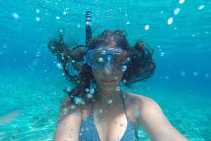 Underwater selfie inside Budikovac lagoon