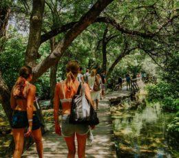 Sugaman group hiking trough the park trails