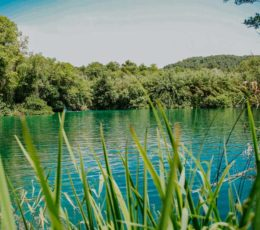 calm clear lake of Krka river
