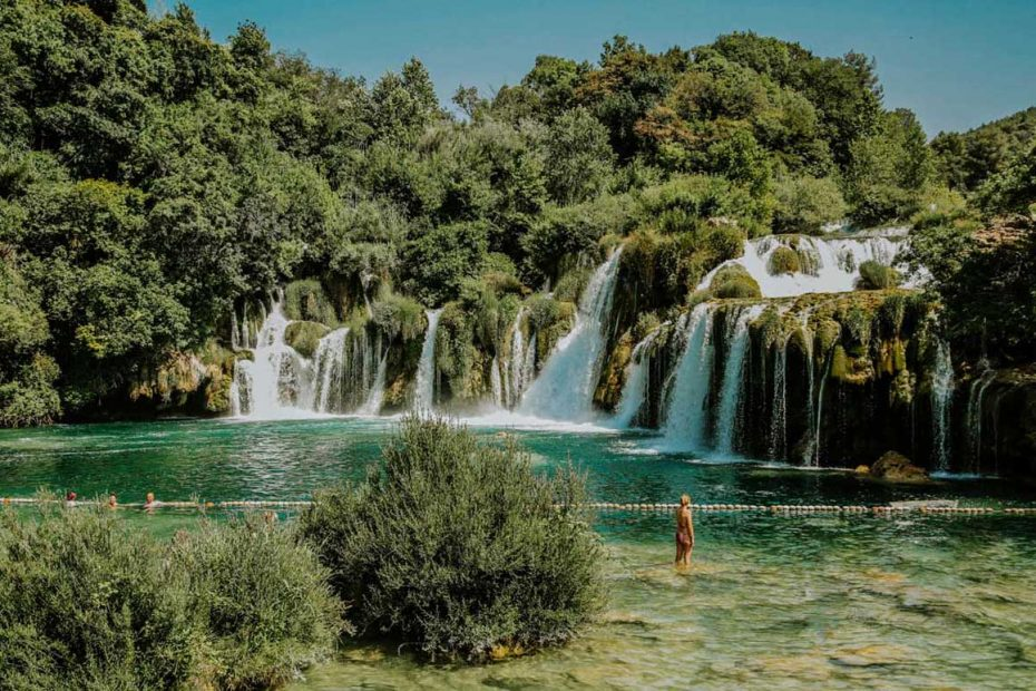 swimming by the waterfalls on Skradinski buk