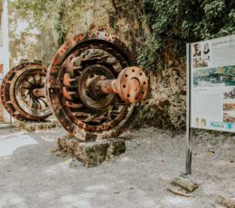 hydroelectric plant Krka-remains with informational table