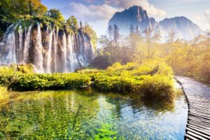 mountains and waterfalls on Plitvice