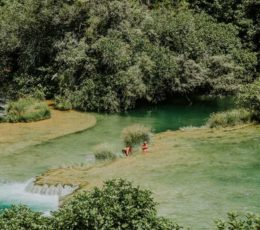 walking over the Krka travertines