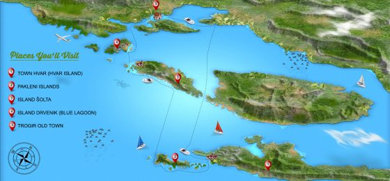 island tour to hvar blue lagoon and trogir-tour map