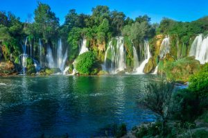 Kravice waterfalls panoramic photo