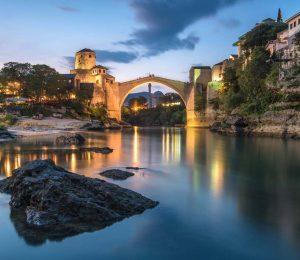 Mostar bridge at dusk