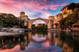 Mostar bridge at dawn