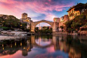 Mostar bridge at dawn