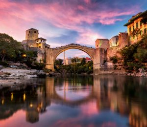 Mostar bridge dusk pink sky