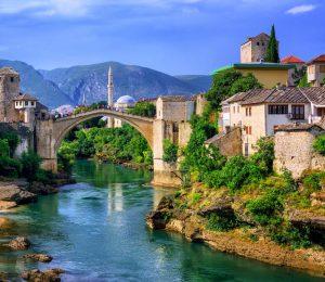 Mostar bridge nad river