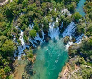 aerial view on Kravice falls