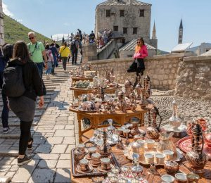 selling street suveniers in Mostar