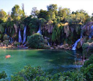 swimming by Kravice waterfalls-Bosnia and Herzegovina
