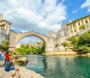 taking photos of Mostar bridge