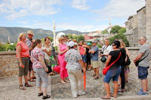 Mostar tour guide with group