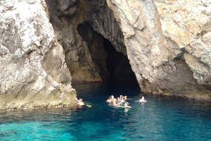 swimming outside of the Monk seal cave on Biševo