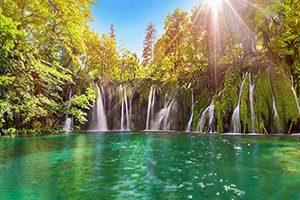 beautiful cascading falls on Plitvice lake
